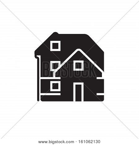 Vector icon or illustration showing real estate business with house in black color style on white background