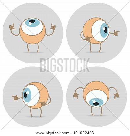 Eyes cartoon icon. The eye looks up down left right around pointing his finger. Vector