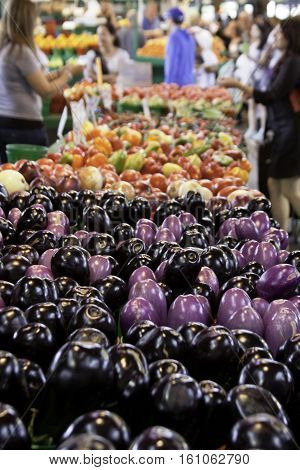 Variety of purple/mauve eggplants in a row on a display table at the outdoor/indoor Jean-Talon Market in Montreal, Quebec, on a bright day in September.