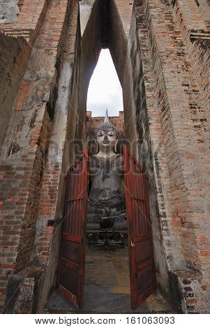 Historic Town of Sukhothai and Associated Historic Towns Sukhothai Historical ParkAncient buddha statue. Sukhothai Historical Park Sukhothai Province Thailand