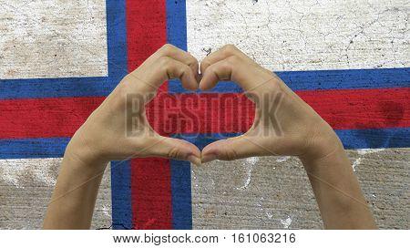Hands Heart Symbol with Faroe Islands Flag