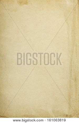 Vintage paper background with crumpled part and stains