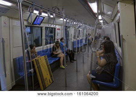 Bangkok : Passengers On A Metropolitan Rapid Transit (mrt) Subway Train On 26 February 2015 In Bangk
