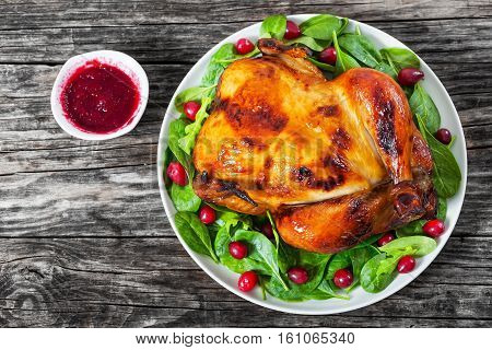 Whole Grilled Chicken On White Dish With Salad And Cranberry