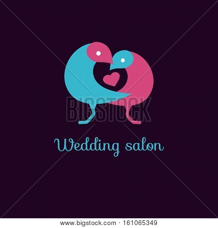Love birds and heart. Logo vector, blue and pink web icon sweet cute lovebirds for wedding salon
