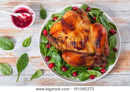 Whole Grilled Chicken And Arugula, Spinach And Cranberry Salad