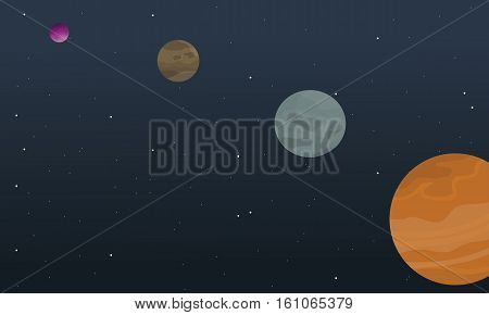 Cartoon space planet collection stock vector illustration
