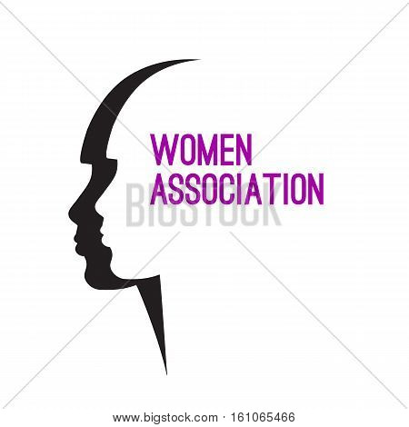 Two of female profile. Vector logo women's Association, Union, community, League