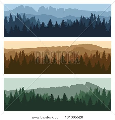 Outdoor rocky landscape background with forest and mountains. Vector mountain peaks and trees panorama banners