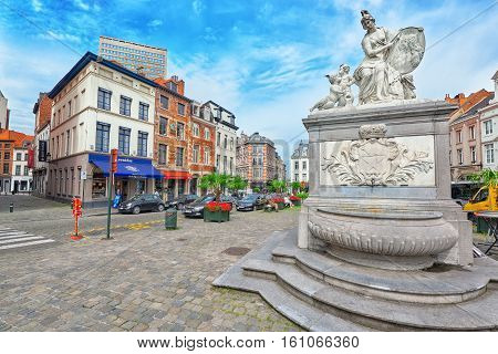 Brussels, Belgium - July 07, 2016 : Statue In The City Center Brussels, Belgium And The European Uni