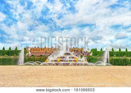 Versailles, France- July 02, 2016 : Latona Fountain Pool, Opposite The Main Building Of The Palace O