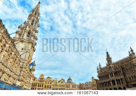 City's Town Hall On Grand Place (grote Markt), The Central Square Of Brussels. It Is Surrounded By O