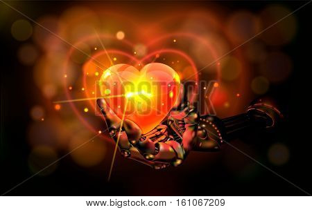 Hart. Abstraction. Manipulator holding red hart with gold Bokeh with bright light background