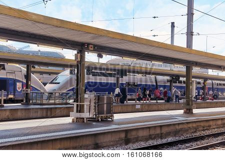 Paris, France - July 09, 2016 :  High Speed Train At The North Railways Station(gare De Nord). Speed