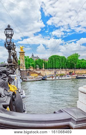 Bridge Of Alexandre Iii Bridge (1896) Spanning The River Seine.
