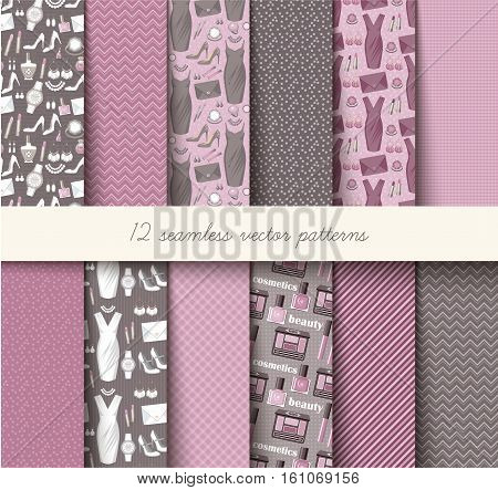 Seamless vector grey and pink pattern set