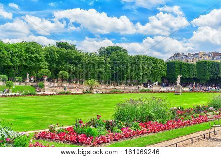 Paris, France - July 08, 2016 : Luxembourg Palace And Park In Paris, The Jardin Du Luxembourg, One O