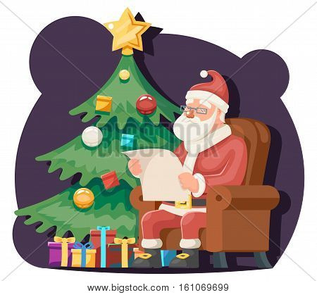 Santa Claus Read Gift List Sit Armchair Character Icon Christmas Tree Background Cartoon Greeting Card Poster Vector illustration