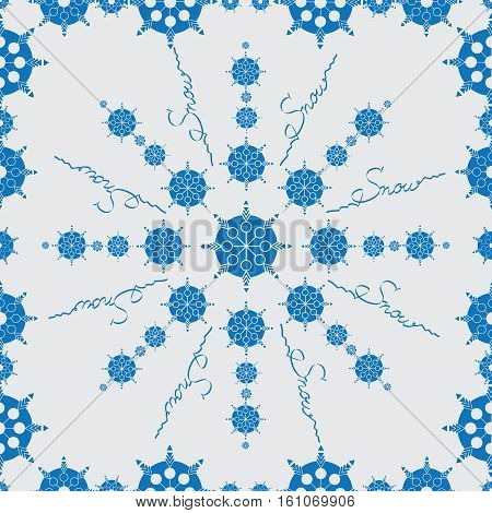 Blue snowflakes. Seamless pattern on light background. Design for textiles, tapestries, wrapping paper, covers.