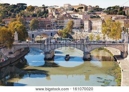 Above View Of Rome And Bridge Vittorio Emanuele Ii