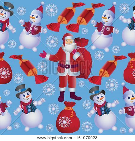 Cheerful snowmen and Santa with gifts.Besovy pattern on a light blue background. Design for fabric, tapestry, packaging for gifts.