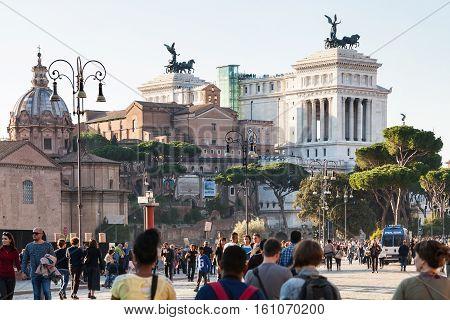 Tourists On Via Dei Fori Imperiali In Rome