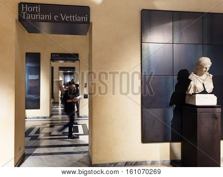 Tourists In Capitoline Museums In Rome