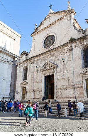 People Near Basilica Of Santa Maria Del Popolo