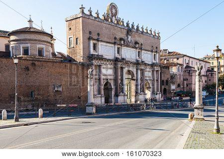 Outer Facade Of Porta Del Popolo In Rome City