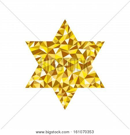 Jewish star on white background in low poly design style. Low polygon template in the form of Jewish Star. Low polygonal illustration.