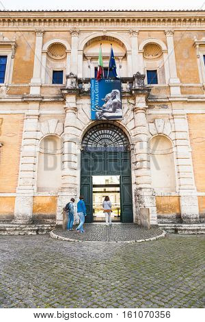 Tourists Enter In Villa Giulia, Rome