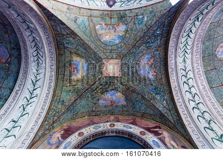 Ceiling Of Arcade In Villa Giulia, Rome City