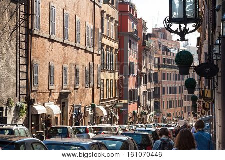 People On Via Francesco Crispi In Rome City