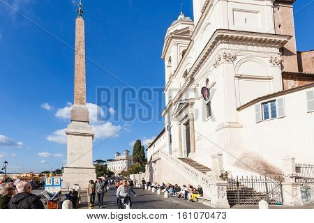People Near Church Of Trinita Dei Monti In Rome