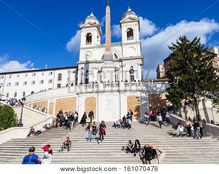 Spanish Steps And Church Trinita Dei Monti In Rome