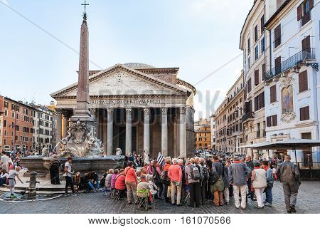 Tourists In Front Of Pantheon Edifice In Rome