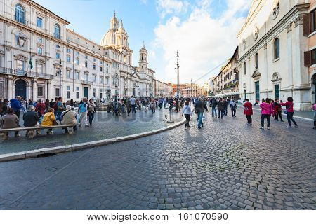 View Of Piazza Navona In Rome City.