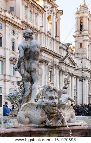 Decor Of Fontana Del Moro On Piazza Navona In Rome