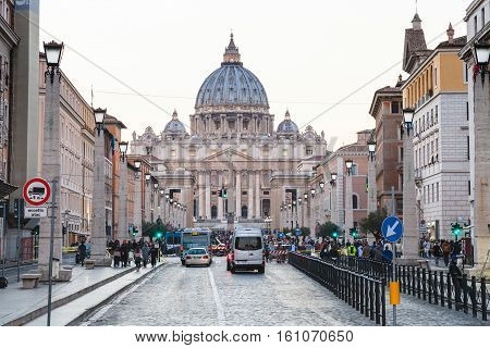 View Of St Peter Basilica In Vatican In Evening