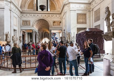 Visitors In Greek-cross Room In Vatican Museums