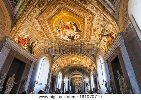 Ceiling Of Gallery Of The Candelabra In Vatican