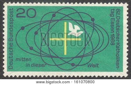 MOSCOW RUSSIA - CIRCA NOVEMBER 2016: a post stamp printed in GERMANY dedicated to the 82nd German Catholic Day in Essen circa 1968