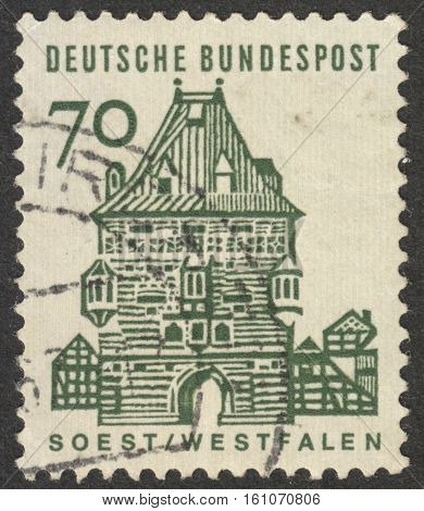 MOSCOW RUSSIA - CIRCA NOVEMBER 2016: a post stamp printed in GERMANY shows Westfalen the series