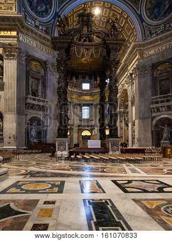 Baldachin Over Altar In Hall Basilica Of St Peter