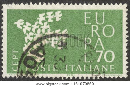 MOSCOW RUSSIA - CIRCA NOVEMBER 2016: a post stamp printed in ITALY shows a dove the series