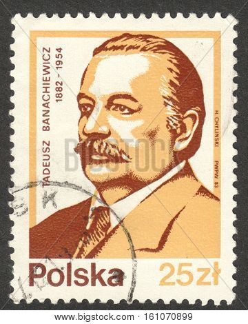 MOSCOW RUSSIA - CIRCA NOVEMBER 2016: a post stamp printed in POLAND shows a portrait of Tadeusz Banachiewicz the series