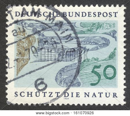 MOSCOW RUSSIA - CIRCA NOVEMBER 2016: a post stamp printed in GERMANY shows a landscape the series
