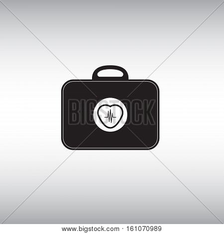 Electrocardiogram tool box vector symbol. Heart beat vector sign. Heart beat isolated icon. Wearable medicine chest vector illustration.