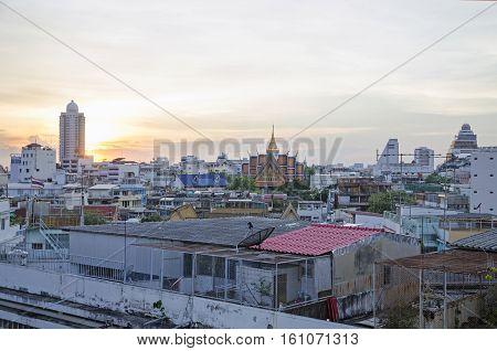 A view over the big asian city of Bangkok , Thailand at nighttime