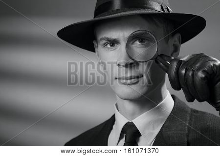 Handsome Intelligent Young Detective In A Hat